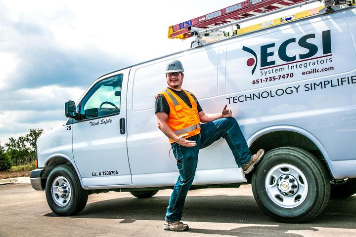 Low voltage contractor next to an ECSI truck